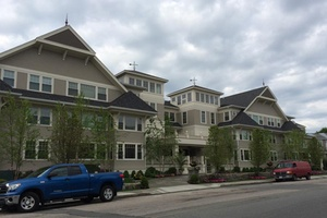 Apartment complex with residential lightning protection installed by Boston Lightning Rod Co., Inc. in Dedham, MA