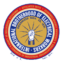 Logo for the International Brotherhood of Electrical Workers that Boston Lightning Rod Co., Inc. is a member of in Dedham, MA